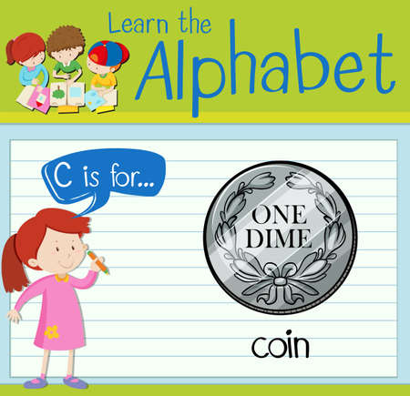 dime: Flashcard letter C is for coin illustration Illustration