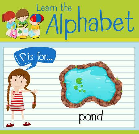 p illustration: Flashcard alphabet P is for pond illustration Illustration