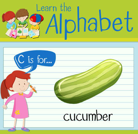 cucumber: Flashcard letter C is for cucumber illustration