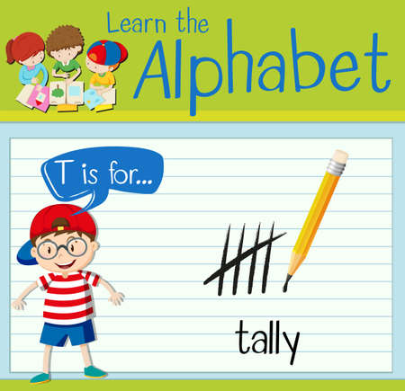 countable: Flashcard letter T is for tally illustration Illustration