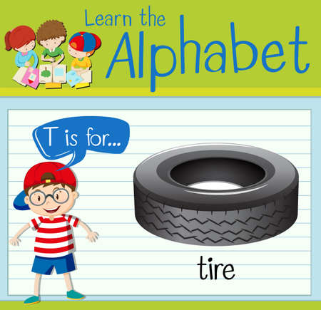 spare part: Flashcard letter T is for tire illustration Illustration