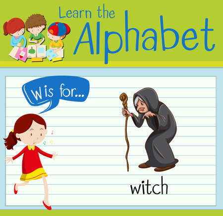 paper spell: Flashcard alphabet W is for witch illustration