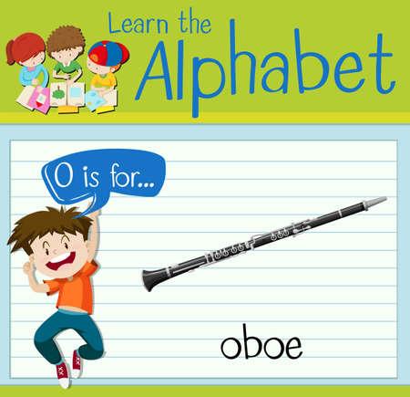 oboe: Flashcard letter O is for oboe illustration