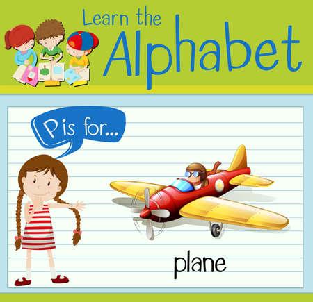 p illustration: Flashcard letter P is for plane illustration