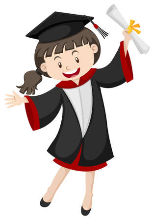 graduated: Woman in graduation gown and certificate illustration