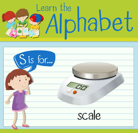 children s art: Flashcard letter S is for scale illustration