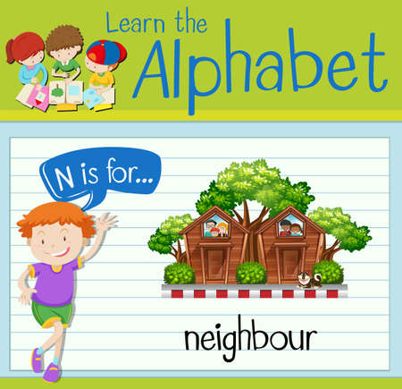 Flashcard letter N is for neighbour illustration Illustration