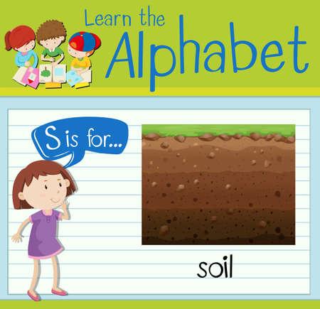 children s art: Flashcard letter S is for soil illustration