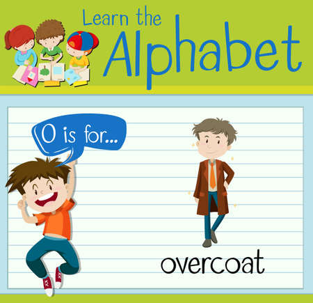 overcoat: Flashcard alphabet O is for overcoat illustration Illustration