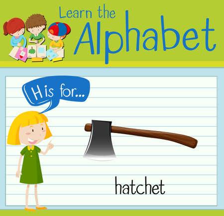 hatchet: Flashcard letter H is for hatchet illustration Illustration