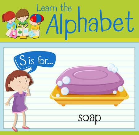 kid s illustration: Flashcard letter S is for soap illustration