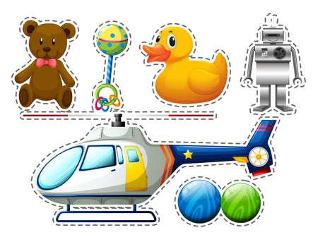 multiple: Sticker set of many toys illustration