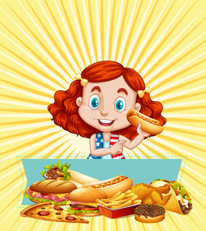 Girl and different kinds of fastfood illustration