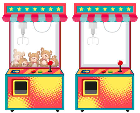 Arcade game machines with dolls illustration Ilustração