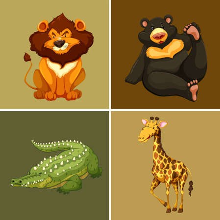 Four types of wild animals on brown background illustration