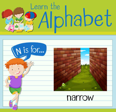 narrow: Flashcard letter N is for narrow illustration Illustration