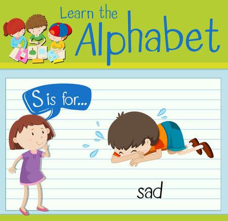 children s art: Flashcard letter S is for sad illustration Illustration