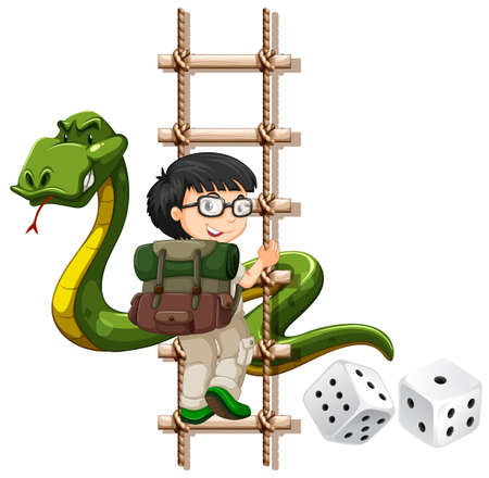 snakes and ladders: Boy and snake climbing up the ladder illustration