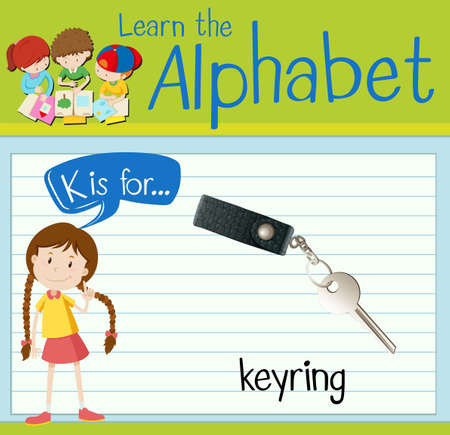 keyring: Flashcard alphabet K is for keyring illustration Illustration