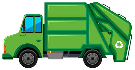 Rubbish truck with recycle sign illustration  イラスト・ベクター素材