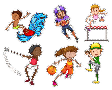 People doing different types of sports illustration