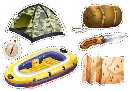 Sticker set of camping equipments illustration