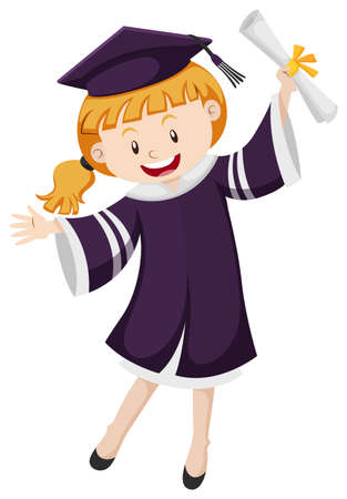 Girl in graduation gown holding degree illustration Illustration