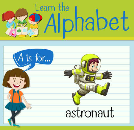 spacesuit: Flashcard letter A is for astronaut illustration