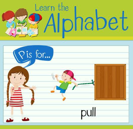 p illustration: Flashcard alphabet P is for pull illustration