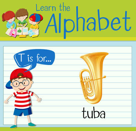 tuba: Flashcard letter T is for tuba illustration Illustration