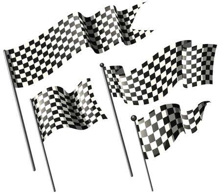 motorcross: Racing flags on metal poles illustration