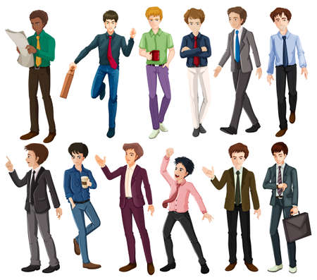 Businessmen in different clothes illustration