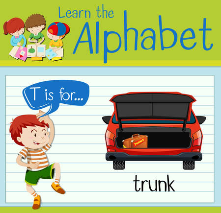 Flashcard alphabet T is for trunk illustration