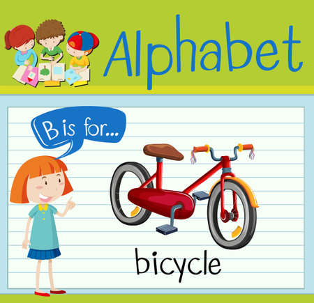 Flashcard letter B is for bicycle illustration