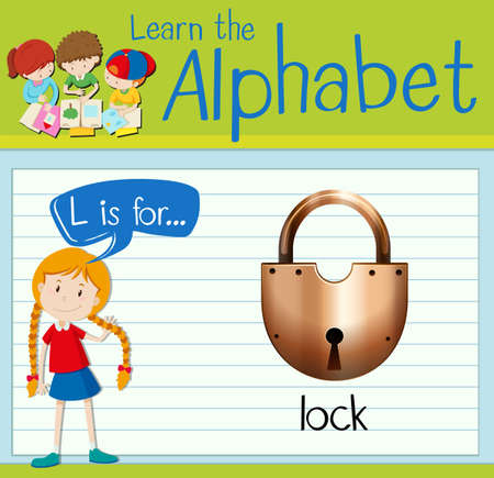 Flashcard letter L is for lock illustration