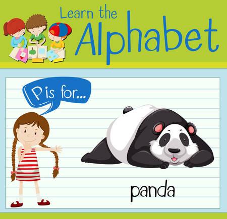 p illustration: Flashcard letter P is for panda illustration