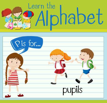 p illustration: Flashcard letter P is for pupils illustration