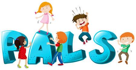 pals: Font design with word pals illustration