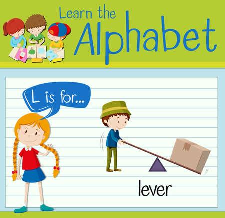 lever: Flashcard letter L is for lever illustration