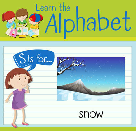 children s art: Flashcard letter S is for snow illustration