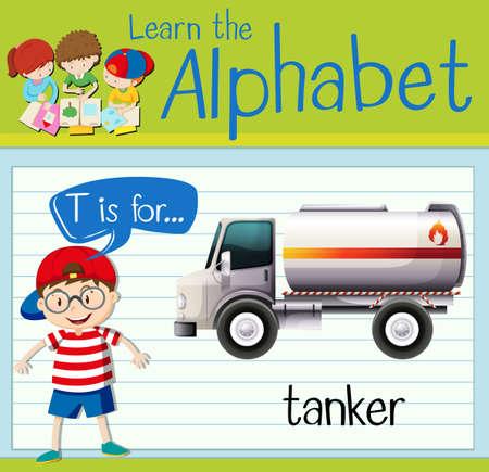 tanker: Flashcard letter T is for tanker illustration Illustration
