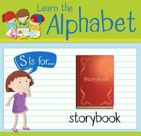 kid s illustration: Flashcard letter S is for storybook illustration