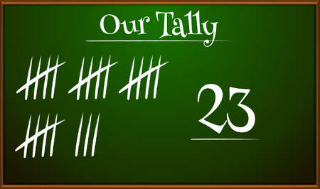 numbers clipart: Tally marks on blackboard illustration