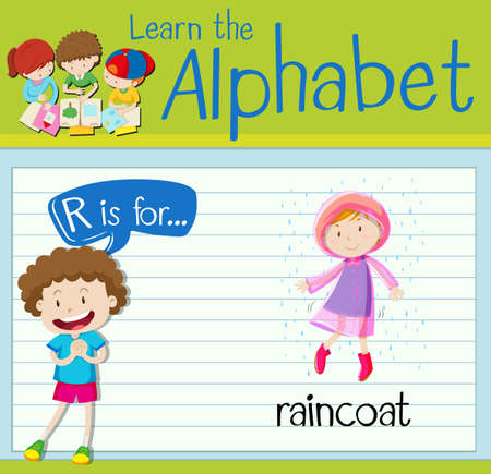 raincoat: Flashcard alphabet R is for raincoat illustration Illustration