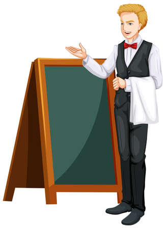 jobs people: Waiter standing by the board illustration