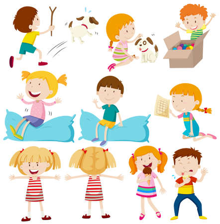 pillows: Kids doing different actions illustration