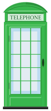 telephone box: Telephone booth in green color illustration