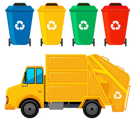 Rubbish truck in yellow color and four trashcans illustration