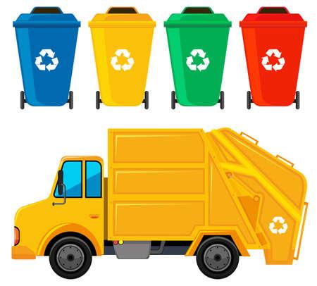camion d'ordures dans la couleur et quatre trashcans jaune illustration