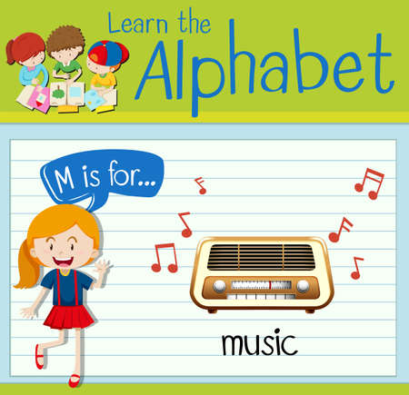radio activity: Flashcard letter M is for music illustration